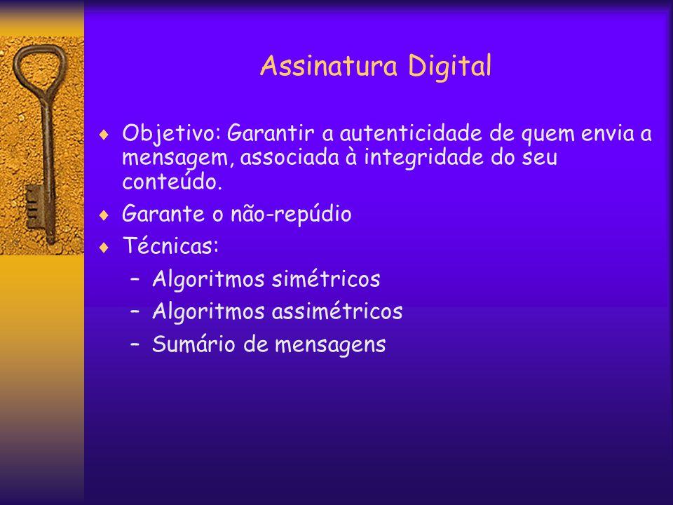 Assinatura Digital  Objetivo: Garantir a autenticidade de quem envia a mensagem, associada à integridade do seu conteúdo.