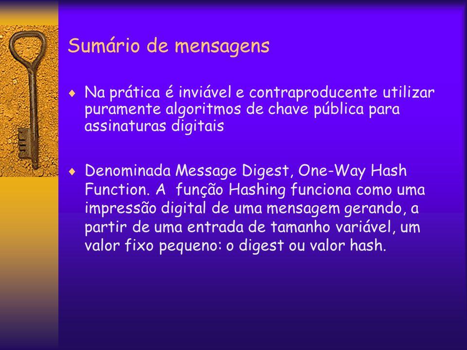 Sumário de mensagens  Na prática é inviável e contraproducente utilizar puramente algoritmos de chave pública para assinaturas digitais  Denominada Message Digest, One-Way Hash Function.