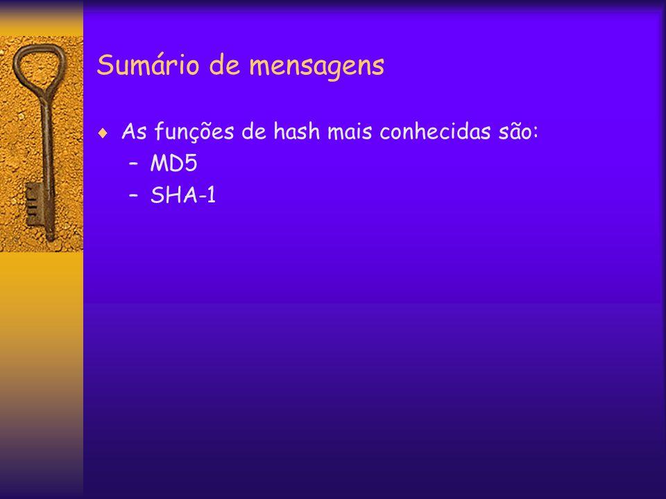 Sumário de mensagens  As funções de hash mais conhecidas são: –MD5 –SHA-1