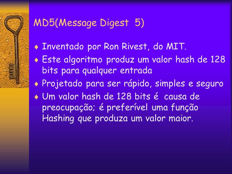 MD5(Message Digest 5)  Inventado por Ron Rivest, do MIT.