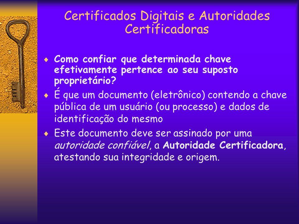 Certificados Digitais e Autoridades Certificadoras  Como confiar que determinada chave efetivamente pertence ao seu suposto proprietário.