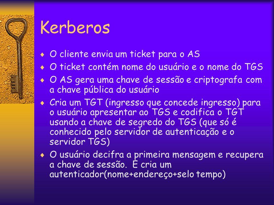 Kerberos  O cliente envia um ticket para o AS  O ticket contém nome do usuário e o nome do TGS  O AS gera uma chave de sessão e criptografa com a chave pública do usuário  Cria um TGT (ingresso que concede ingresso) para o usuário apresentar ao TGS e codifica o TGT usando a chave de segredo do TGS (que só é conhecido pelo servidor de autenticação e o servidor TGS)  O usuário decifra a primeira mensagem e recupera a chave de sessão.