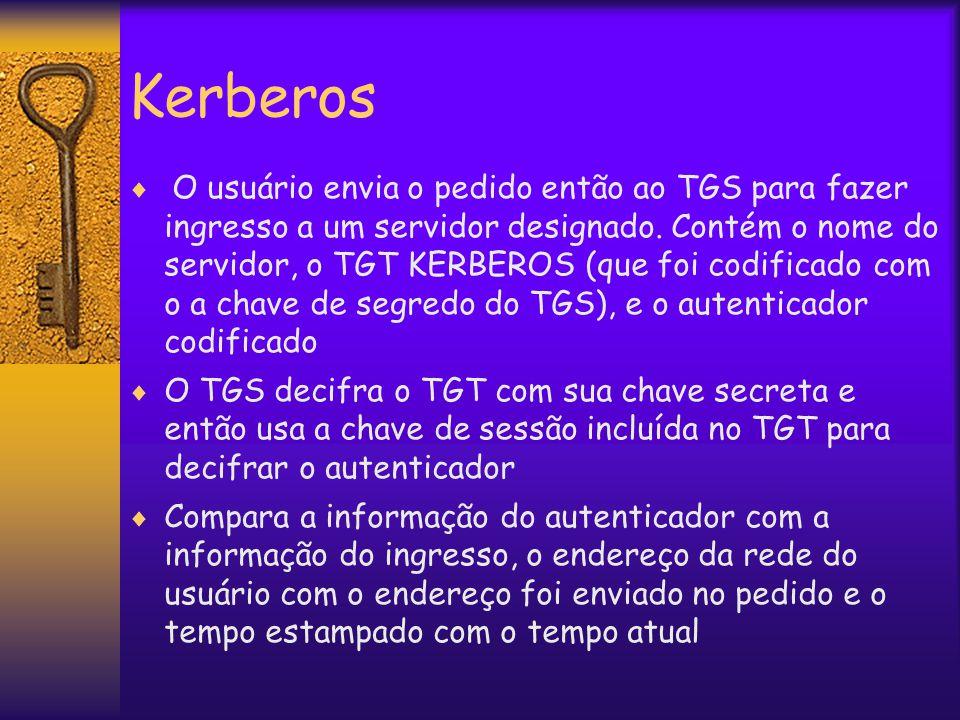 Kerberos  O usuário envia o pedido então ao TGS para fazer ingresso a um servidor designado.