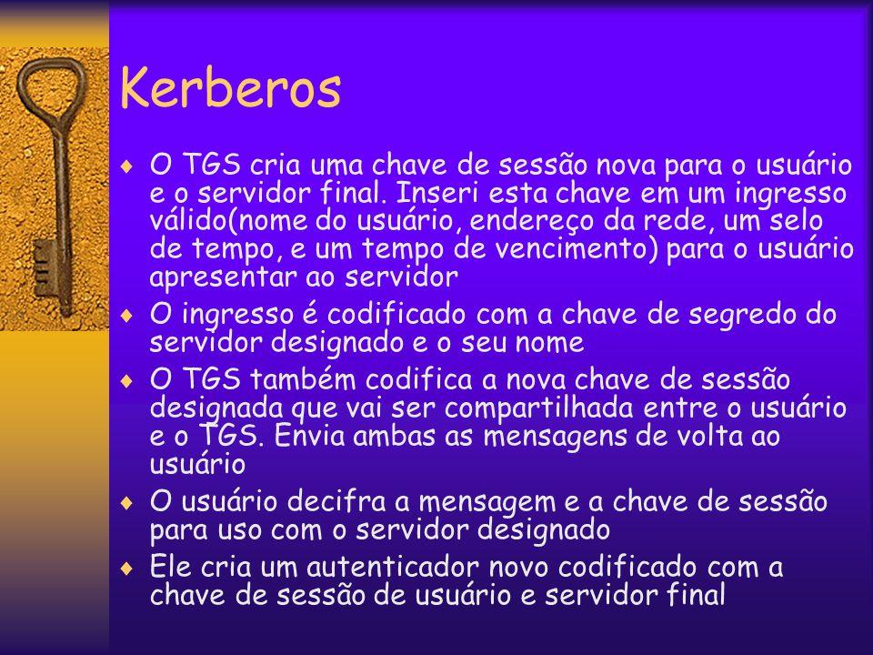 Kerberos  O TGS cria uma chave de sessão nova para o usuário e o servidor final.
