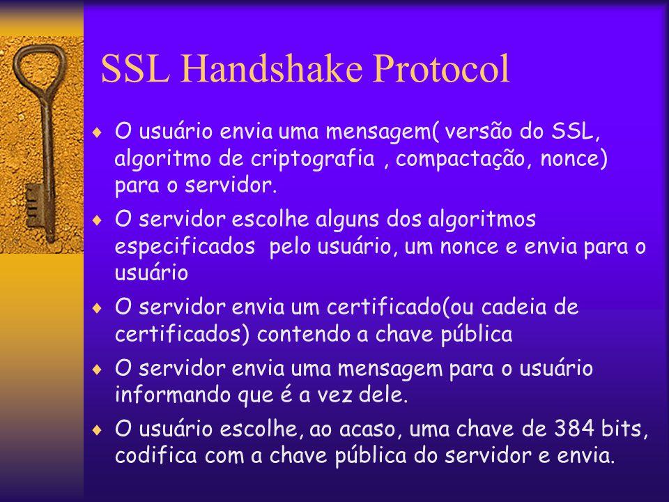 SSL Handshake Protocol  O usuário envia uma mensagem( versão do SSL, algoritmo de criptografia, compactação, nonce) para o servidor.