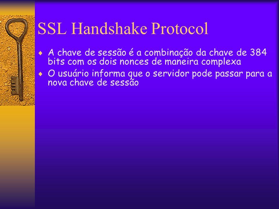 SSL Handshake Protocol  A chave de sessão é a combinação da chave de 384 bits com os dois nonces de maneira complexa  O usuário informa que o servidor pode passar para a nova chave de sessão