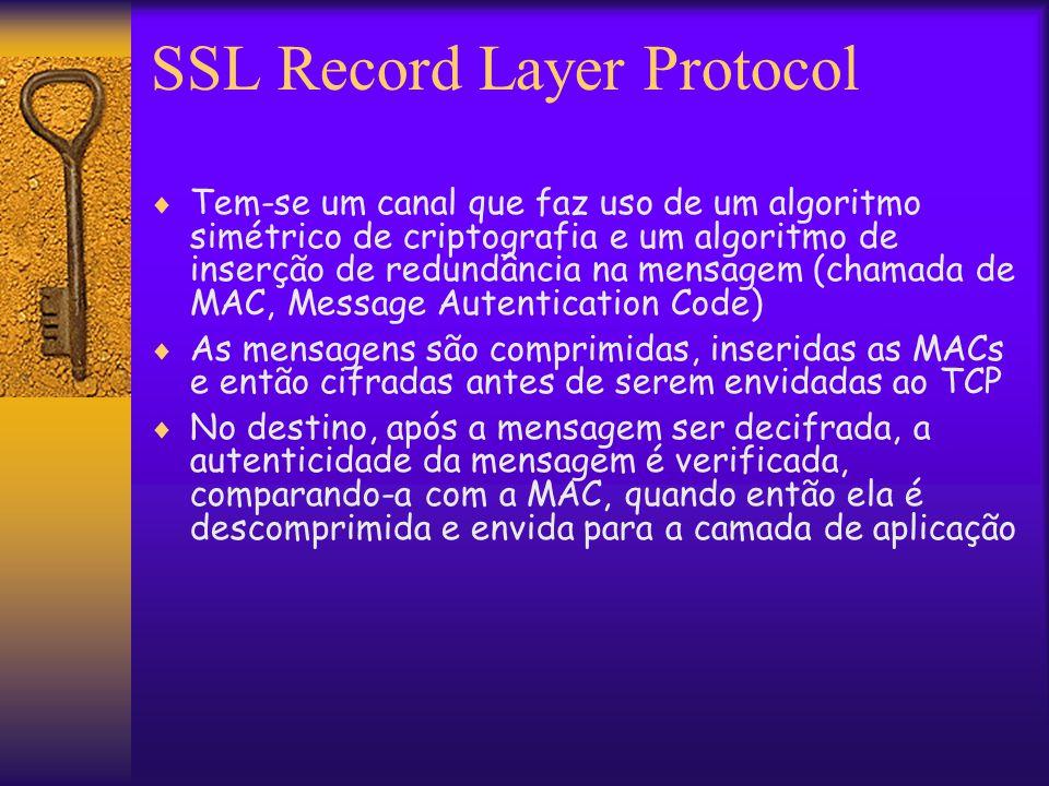 SSL Record Layer Protocol  Tem-se um canal que faz uso de um algoritmo simétrico de criptografia e um algoritmo de inserção de redundância na mensagem (chamada de MAC, Message Autentication Code)  As mensagens são comprimidas, inseridas as MACs e então cifradas antes de serem envidadas ao TCP  No destino, após a mensagem ser decifrada, a autenticidade da mensagem é verificada, comparando-a com a MAC, quando então ela é descomprimida e envida para a camada de aplicação