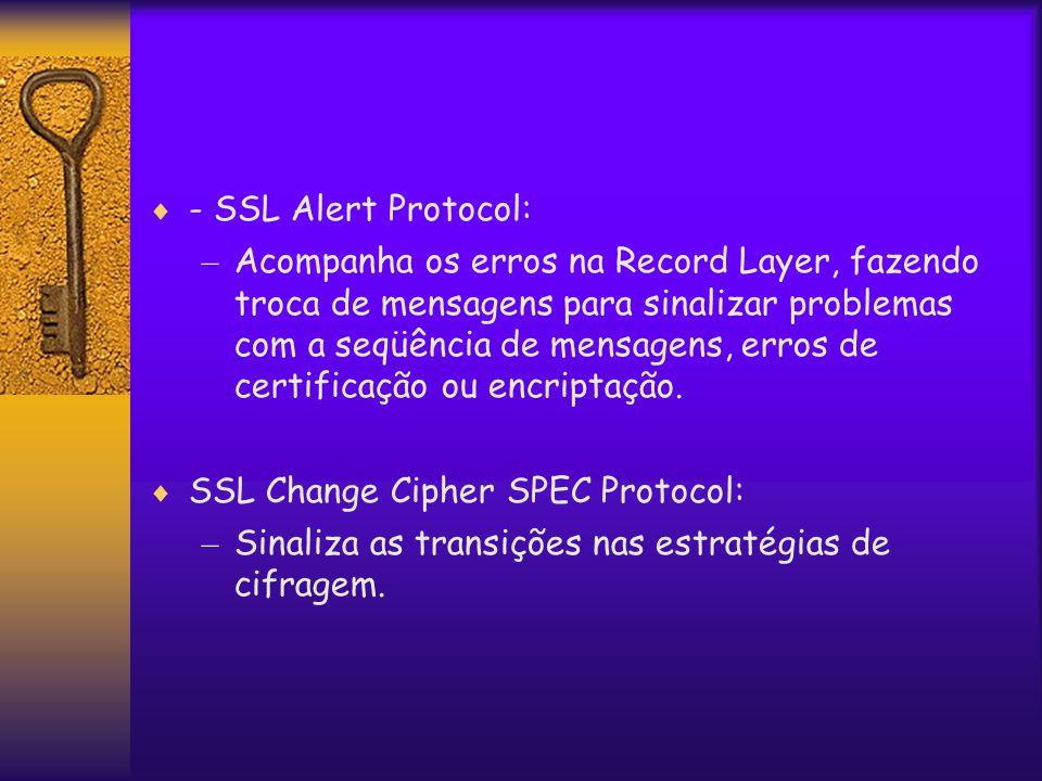  - SSL Alert Protocol: – Acompanha os erros na Record Layer, fazendo troca de mensagens para sinalizar problemas com a seqüência de mensagens, erros de certificação ou encriptação.