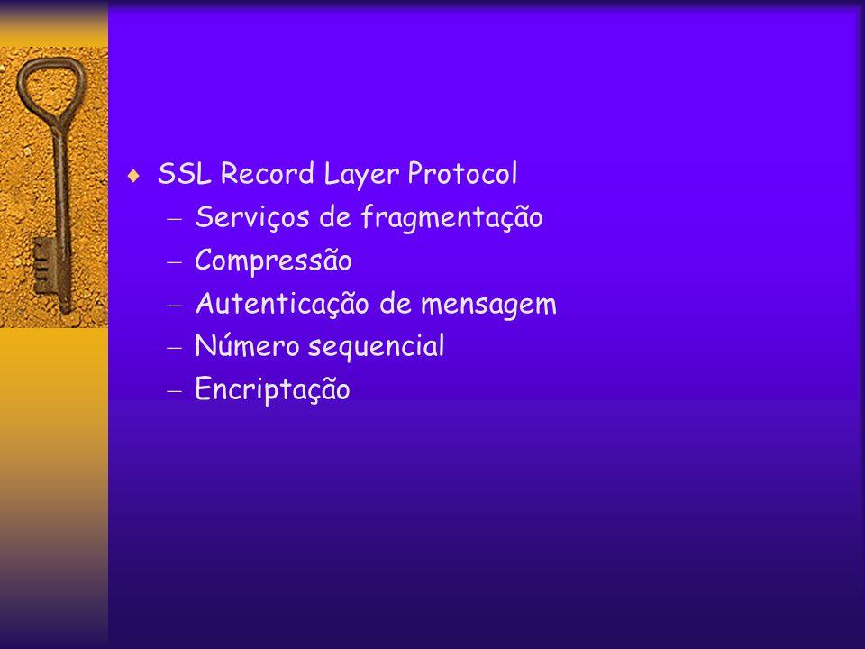  SSL Record Layer Protocol – Serviços de fragmentação – Compressão – Autenticação de mensagem – Número sequencial – Encriptação