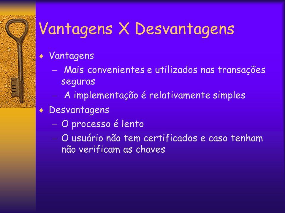 Vantagens X Desvantagens  Vantagens – Mais convenientes e utilizados nas transações seguras – A implementação é relativamente simples  Desvantagens – O processo é lento – O usuário não tem certificados e caso tenham não verificam as chaves