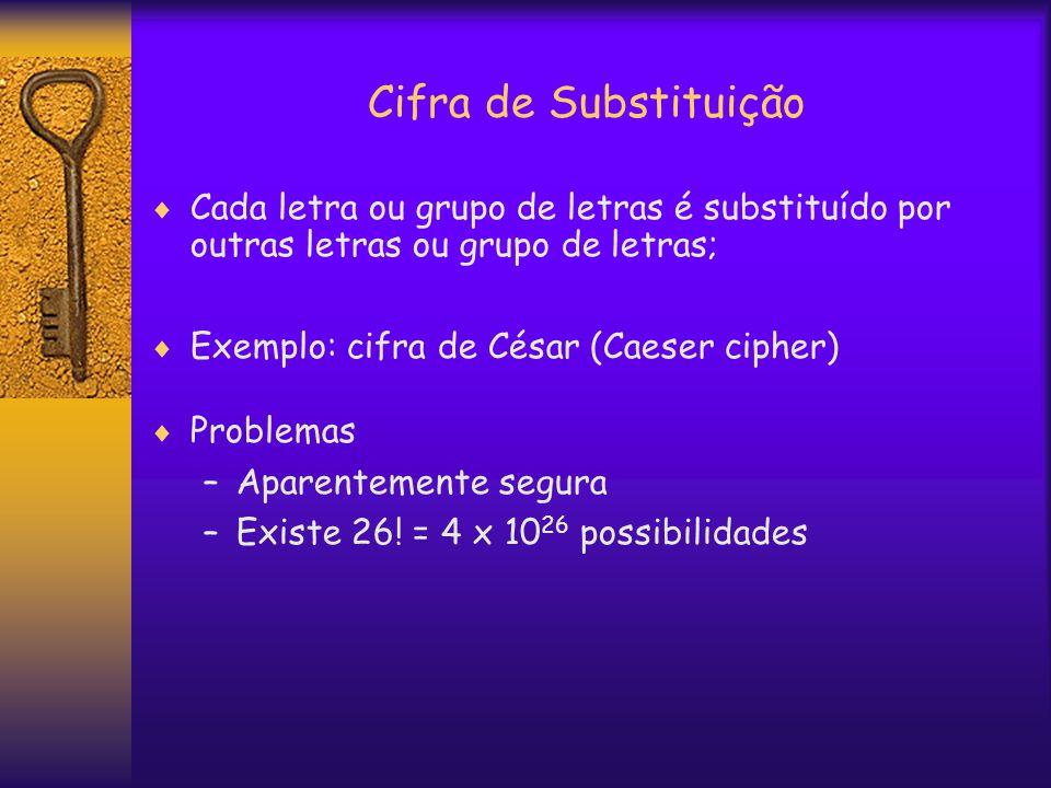 Cifra de Substituição  Cada letra ou grupo de letras é substituído por outras letras ou grupo de letras;  Exemplo: cifra de César (Caeser cipher)  Problemas –Aparentemente segura –Existe 26.
