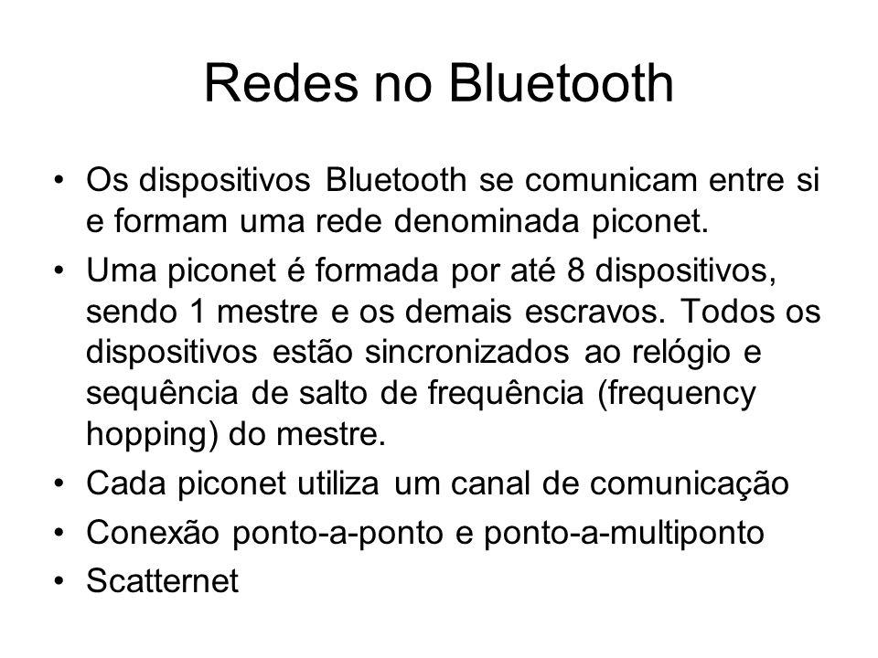 Redes no Bluetooth Os dispositivos Bluetooth se comunicam entre si e formam uma rede denominada piconet. Uma piconet é formada por até 8 dispositivos,