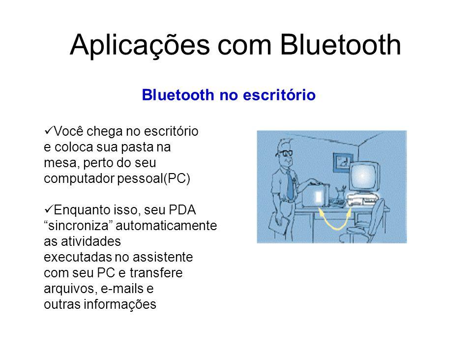 Aplicações com Bluetooth Bluetooth no escritório Você chega no escritório e coloca sua pasta na mesa, perto do seu computador pessoal(PC) Enquanto isso, seu PDA sincroniza automaticamente as atividades executadas no assistente com seu PC e transfere arquivos, e-mails e outras informações