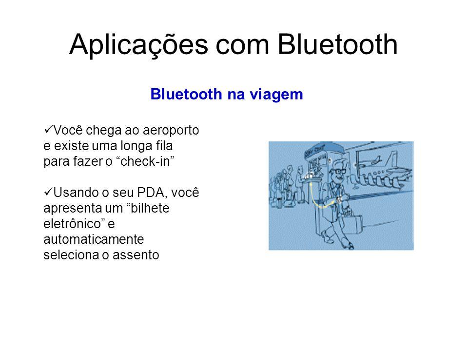 Aplicações com Bluetooth Bluetooth na viagem Você chega ao aeroporto e existe uma longa fila para fazer o check-in Usando o seu PDA, você apresenta um bilhete eletrônico e automaticamente seleciona o assento