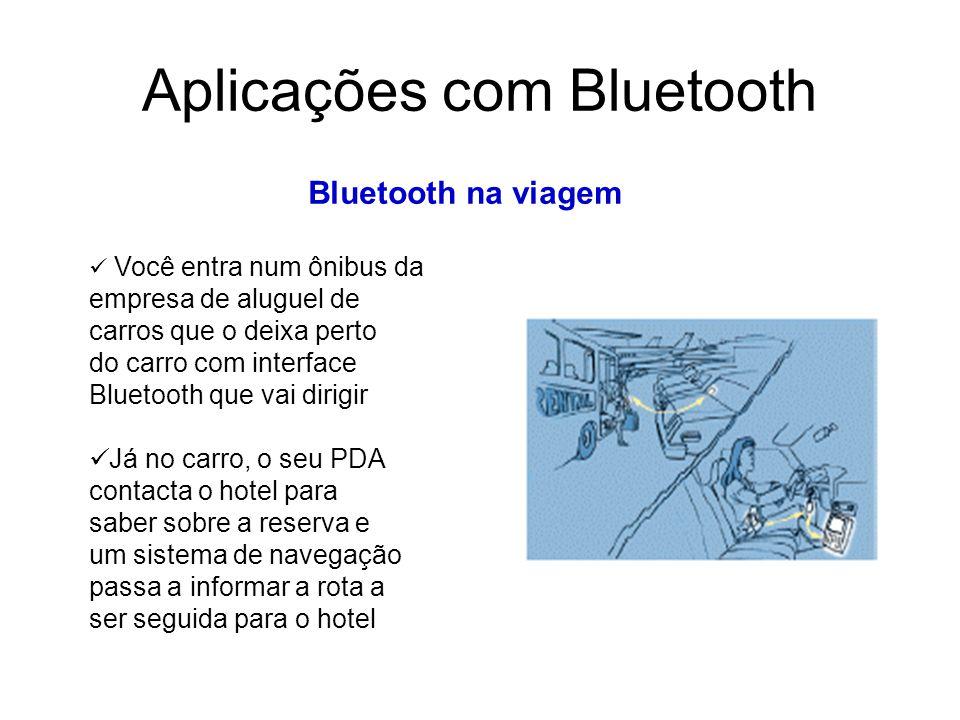 Aplicações com Bluetooth Bluetooth na viagem Você entra num ônibus da empresa de aluguel de carros que o deixa perto do carro com interface Bluetooth