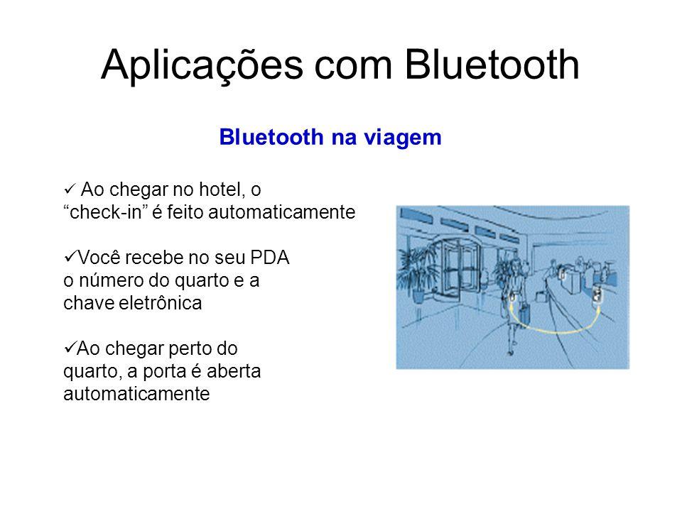 Aplicações com Bluetooth Bluetooth na viagem Ao chegar no hotel, o check-in é feito automaticamente Você recebe no seu PDA o número do quarto e a chave eletrônica Ao chegar perto do quarto, a porta é aberta automaticamente