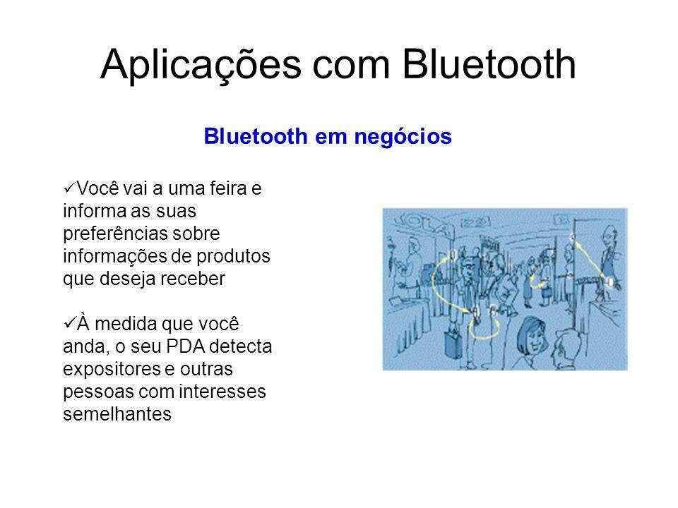 Aplicações com Bluetooth Bluetooth em negócios Você vai a uma feira e informa as suas preferências sobre informações de produtos que deseja receber À medida que você anda, o seu PDA detecta expositores e outras pessoas com interesses semelhantes