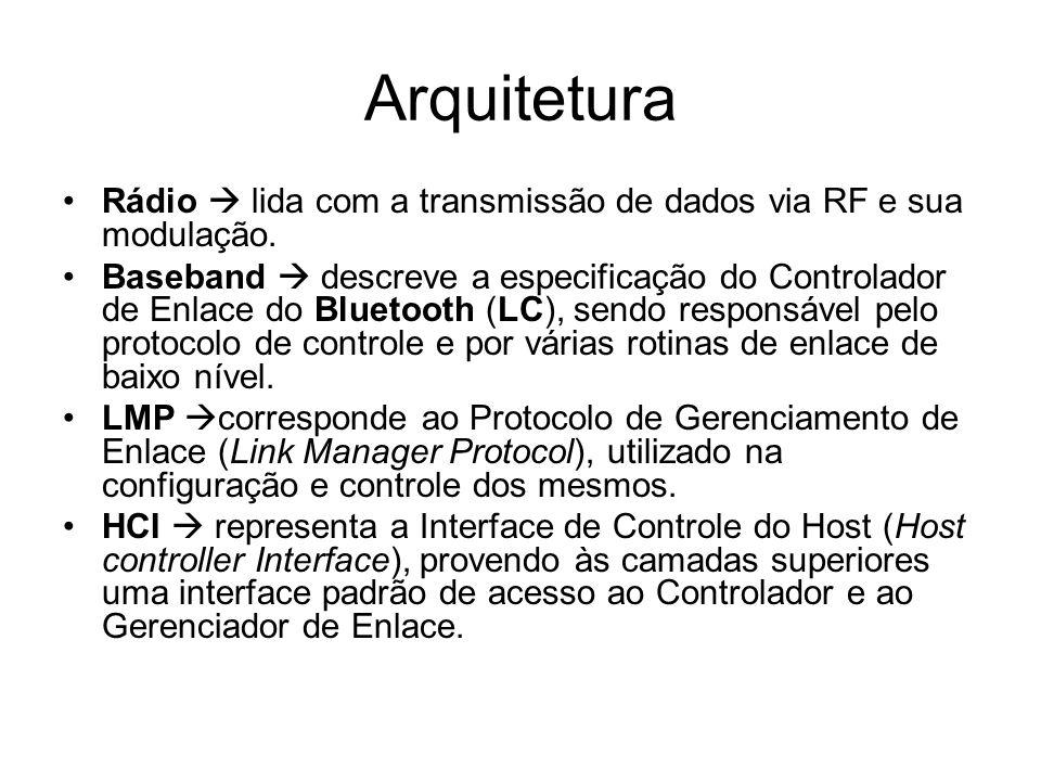 Arquitetura Rádio  lida com a transmissão de dados via RF e sua modulação. Baseband  descreve a especificação do Controlador de Enlace do Bluetooth