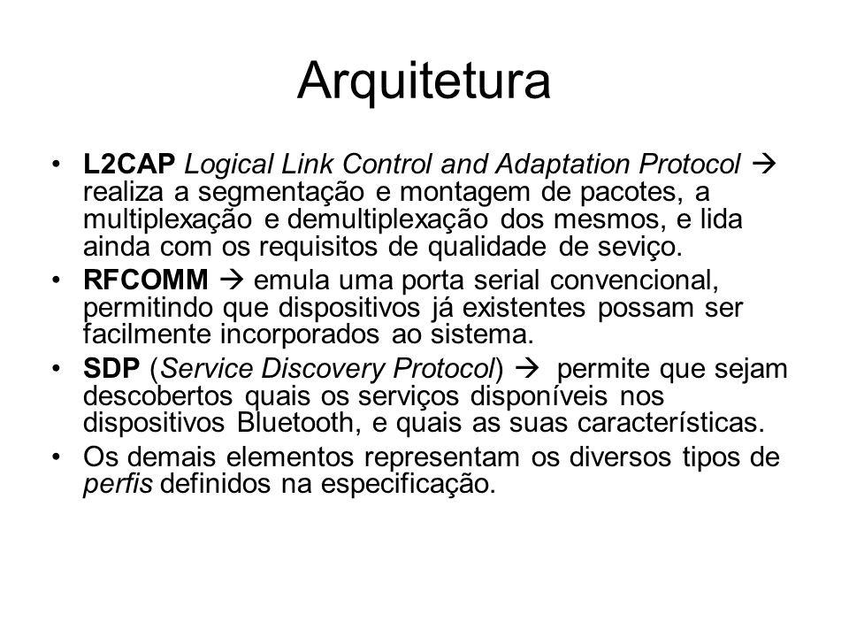 Arquitetura L2CAP Logical Link Control and Adaptation Protocol  realiza a segmentação e montagem de pacotes, a multiplexação e demultiplexação dos mesmos, e lida ainda com os requisitos de qualidade de seviço.