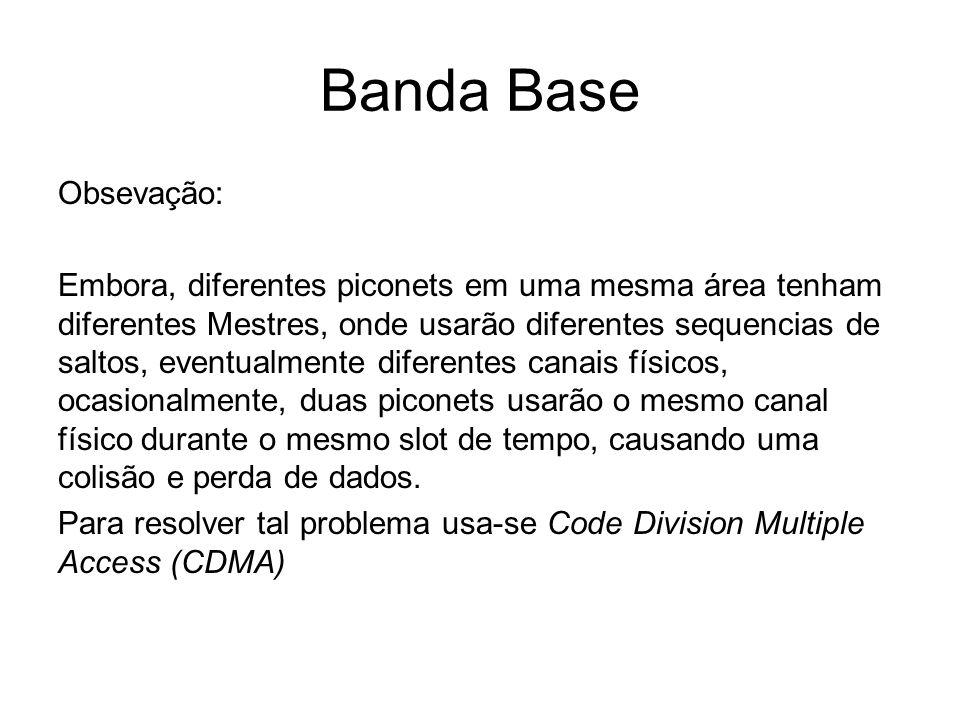 Banda Base Obsevação: Embora, diferentes piconets em uma mesma área tenham diferentes Mestres, onde usarão diferentes sequencias de saltos, eventualme