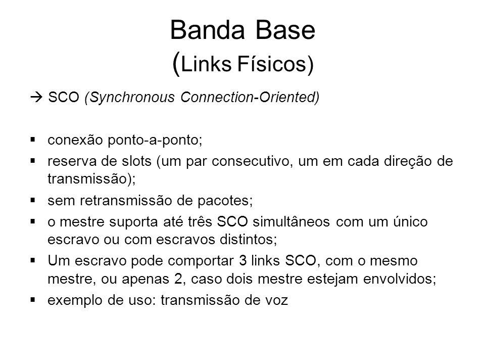 Banda Base ( Links Físicos)  SCO (Synchronous Connection-Oriented)  conexão ponto-a-ponto;  reserva de slots (um par consecutivo, um em cada direçã