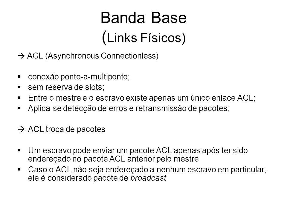 Banda Base ( Links Físicos)  ACL (Asynchronous Connectionless)  conexão ponto-a-multiponto;  sem reserva de slots;  Entre o mestre e o escravo existe apenas um único enlace ACL;  Aplica-se detecção de erros e retransmissão de pacotes;  ACL troca de pacotes  Um escravo pode enviar um pacote ACL apenas após ter sido endereçado no pacote ACL anterior pelo mestre  Caso o ACL não seja endereçado a nenhum escravo em particular, ele é considerado pacote de broadcast
