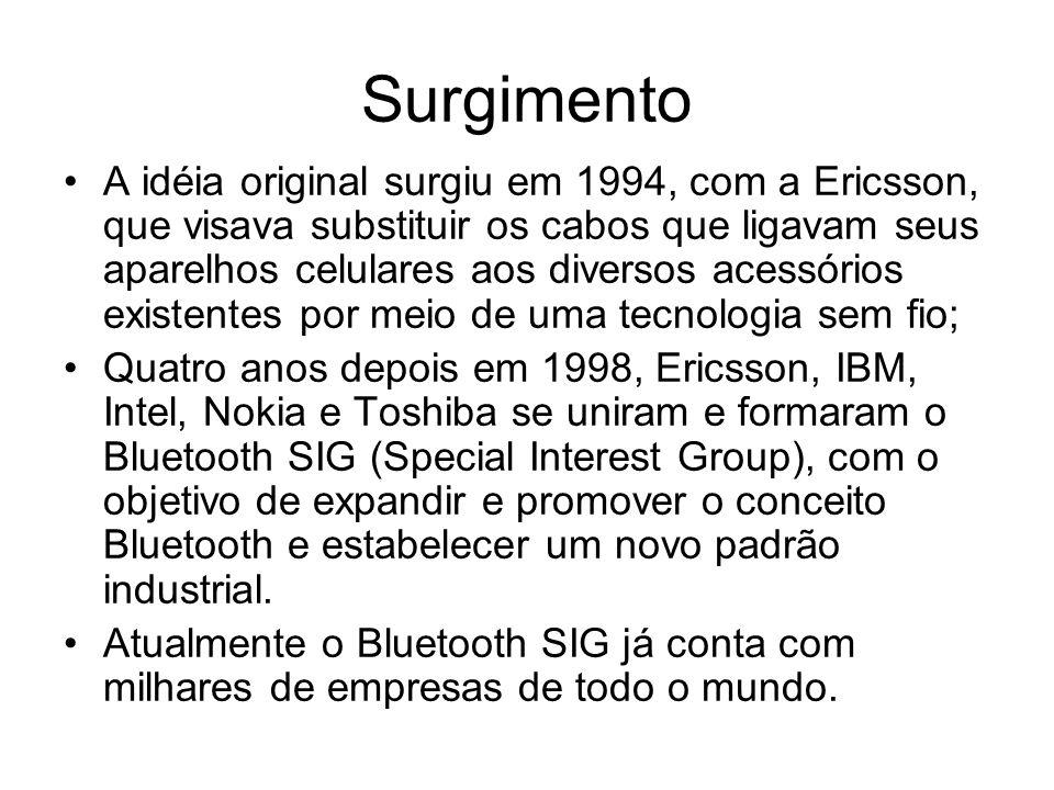Surgimento A idéia original surgiu em 1994, com a Ericsson, que visava substituir os cabos que ligavam seus aparelhos celulares aos diversos acessórios existentes por meio de uma tecnologia sem fio; Quatro anos depois em 1998, Ericsson, IBM, Intel, Nokia e Toshiba se uniram e formaram o Bluetooth SIG (Special Interest Group), com o objetivo de expandir e promover o conceito Bluetooth e estabelecer um novo padrão industrial.
