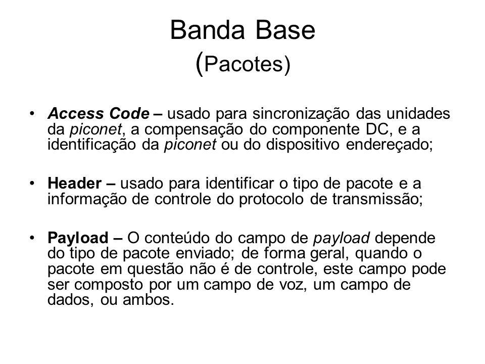 Banda Base ( Pacotes) Access Code – usado para sincronização das unidades da piconet, a compensação do componente DC, e a identificação da piconet ou do dispositivo endereçado; Header – usado para identificar o tipo de pacote e a informação de controle do protocolo de transmissão; Payload – O conteúdo do campo de payload depende do tipo de pacote enviado; de forma geral, quando o pacote em questão não é de controle, este campo pode ser composto por um campo de voz, um campo de dados, ou ambos.