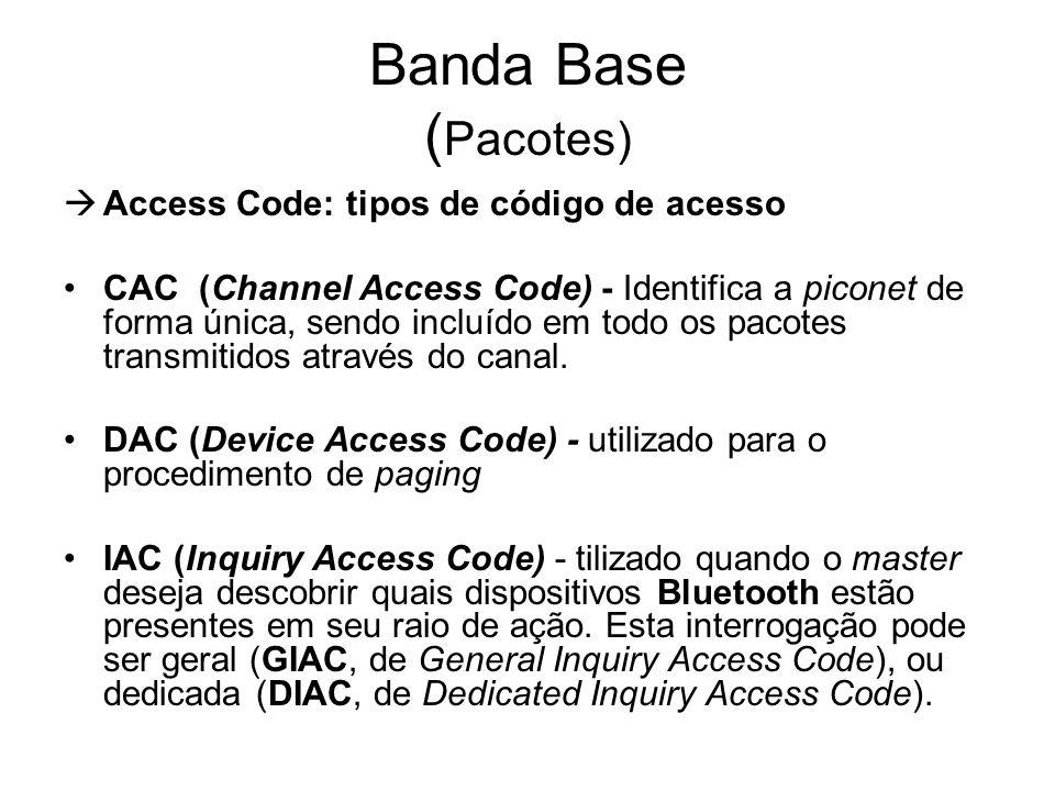 Banda Base ( Pacotes)  Access Code: tipos de código de acesso CAC (Channel Access Code) - Identifica a piconet de forma única, sendo incluído em todo os pacotes transmitidos através do canal.