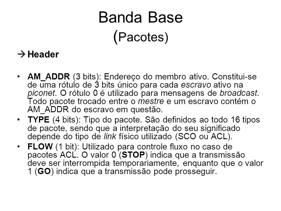 Banda Base ( Pacotes)  Header AM_ADDR (3 bits): Endereço do membro ativo. Constitui-se de uma rótulo de 3 bits único para cada escravo ativo na picon