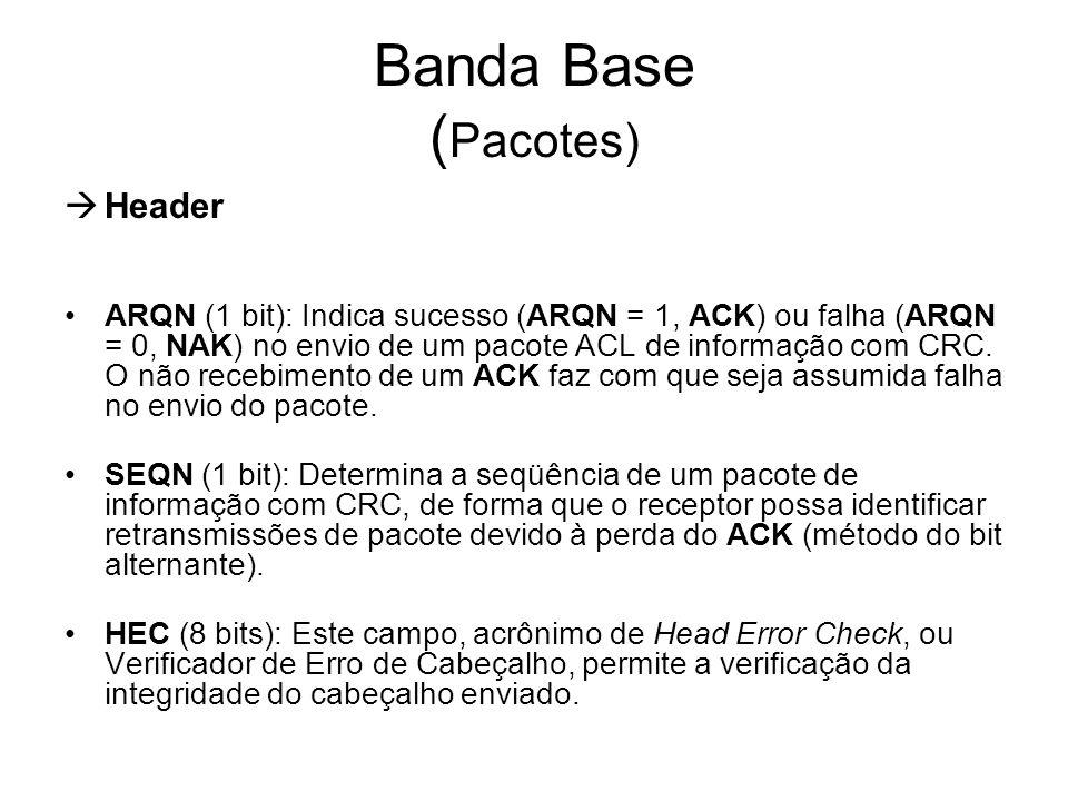 Banda Base ( Pacotes)  Header ARQN (1 bit): Indica sucesso (ARQN = 1, ACK) ou falha (ARQN = 0, NAK) no envio de um pacote ACL de informação com CRC.