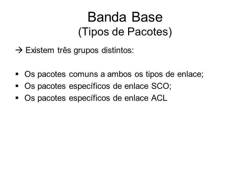 Banda Base (Tipos de Pacotes)  Existem três grupos distintos:  Os pacotes comuns a ambos os tipos de enlace;  Os pacotes específicos de enlace SCO;  Os pacotes específicos de enlace ACL