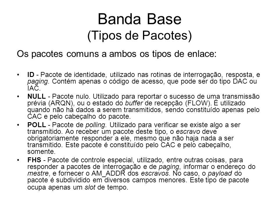 Banda Base (Tipos de Pacotes) Os pacotes comuns a ambos os tipos de enlace: ID - Pacote de identidade, utilizado nas rotinas de interrogação, resposta, e paging.