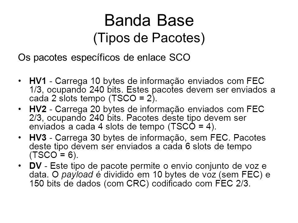Banda Base (Tipos de Pacotes) Os pacotes específicos de enlace SCO HV1 - Carrega 10 bytes de informação enviados com FEC 1/3, ocupando 240 bits. Estes