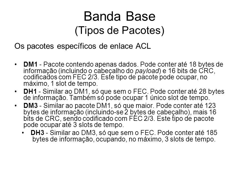 Banda Base (Tipos de Pacotes) Os pacotes específicos de enlace ACL DM1 - Pacote contendo apenas dados. Pode conter até 18 bytes de informação (incluin