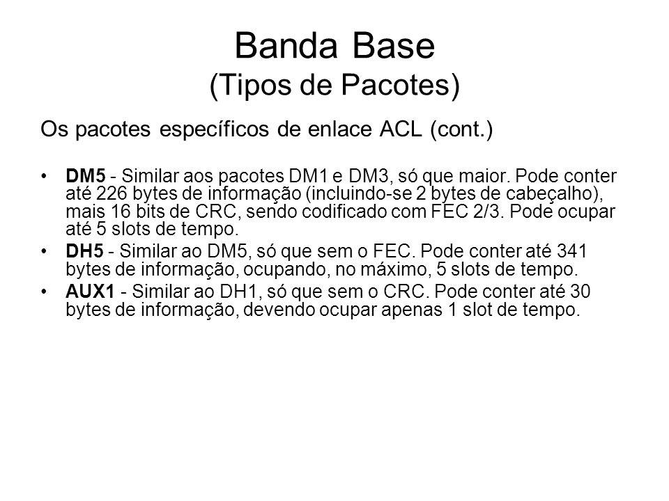 Banda Base (Tipos de Pacotes) Os pacotes específicos de enlace ACL (cont.) DM5 - Similar aos pacotes DM1 e DM3, só que maior. Pode conter até 226 byte