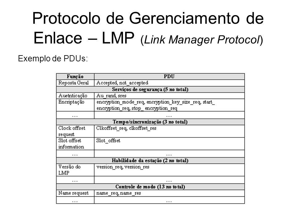 Protocolo de Gerenciamento de Enlace – LMP (Link Manager Protocol) Exemplo de PDUs: