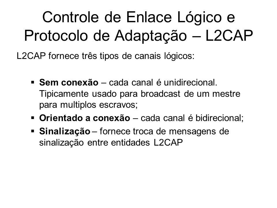 Controle de Enlace Lógico e Protocolo de Adaptação – L2CAP L2CAP fornece três tipos de canais lógicos:  Sem conexão – cada canal é unidirecional. Tip