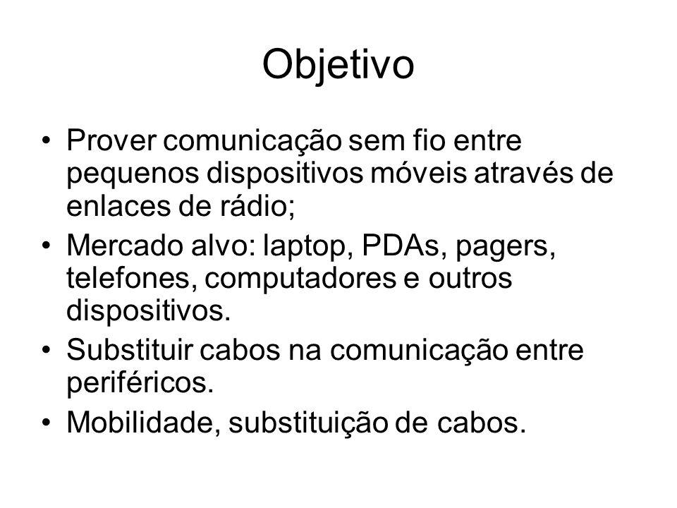 Objetivo Prover comunicação sem fio entre pequenos dispositivos móveis através de enlaces de rádio; Mercado alvo: laptop, PDAs, pagers, telefones, computadores e outros dispositivos.