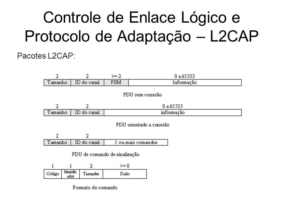 Controle de Enlace Lógico e Protocolo de Adaptação – L2CAP Pacotes L2CAP: