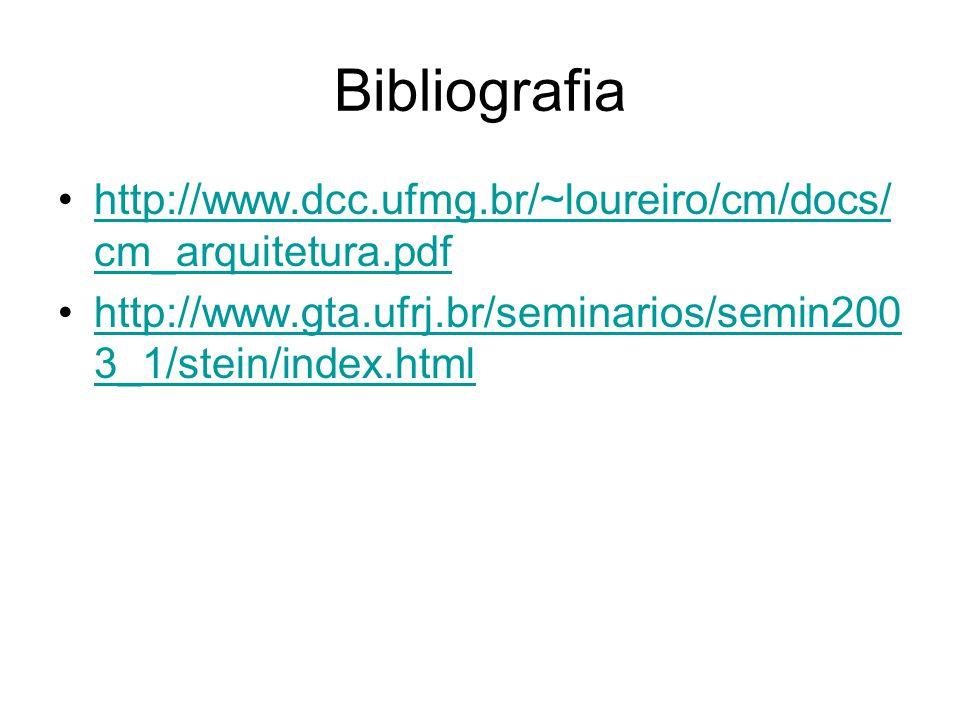 Bibliografia http://www.dcc.ufmg.br/~loureiro/cm/docs/ cm_arquitetura.pdfhttp://www.dcc.ufmg.br/~loureiro/cm/docs/ cm_arquitetura.pdf http://www.gta.ufrj.br/seminarios/semin200 3_1/stein/index.htmlhttp://www.gta.ufrj.br/seminarios/semin200 3_1/stein/index.html