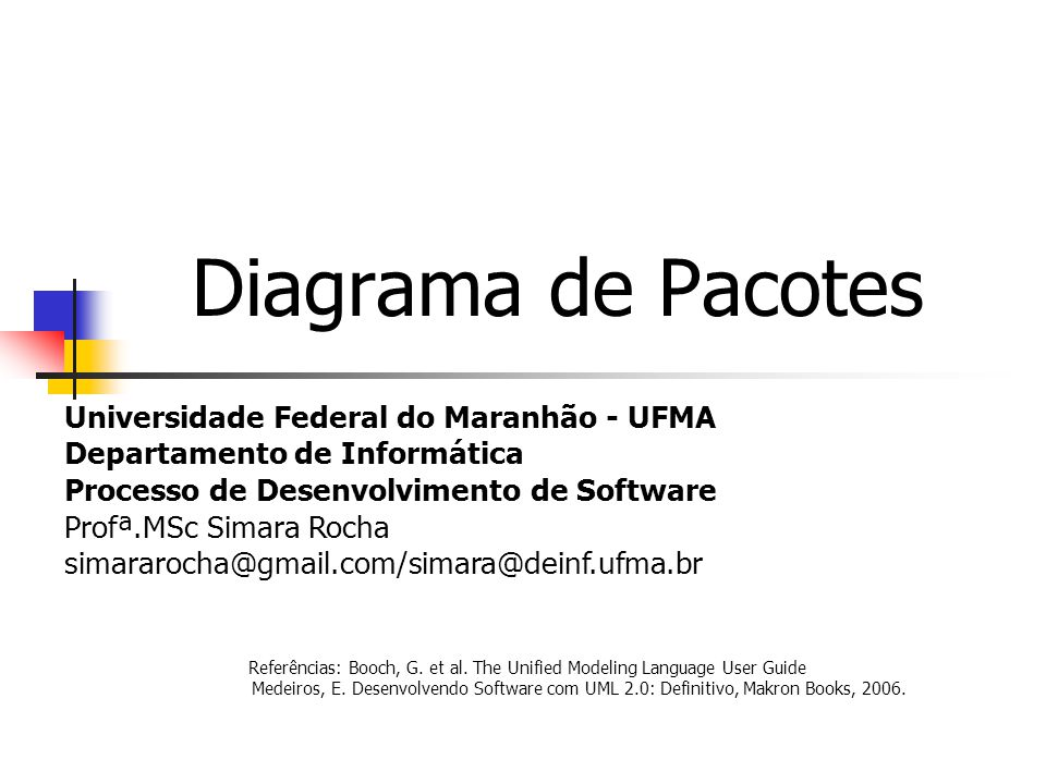 Diagrama de Pacotes Universidade Federal do Maranhão - UFMA Departamento de Informática Processo de Desenvolvimento de Software Profª.MSc Simara Rocha simararocha@gmail.com/simara@deinf.ufma.br Referências: Booch, G.