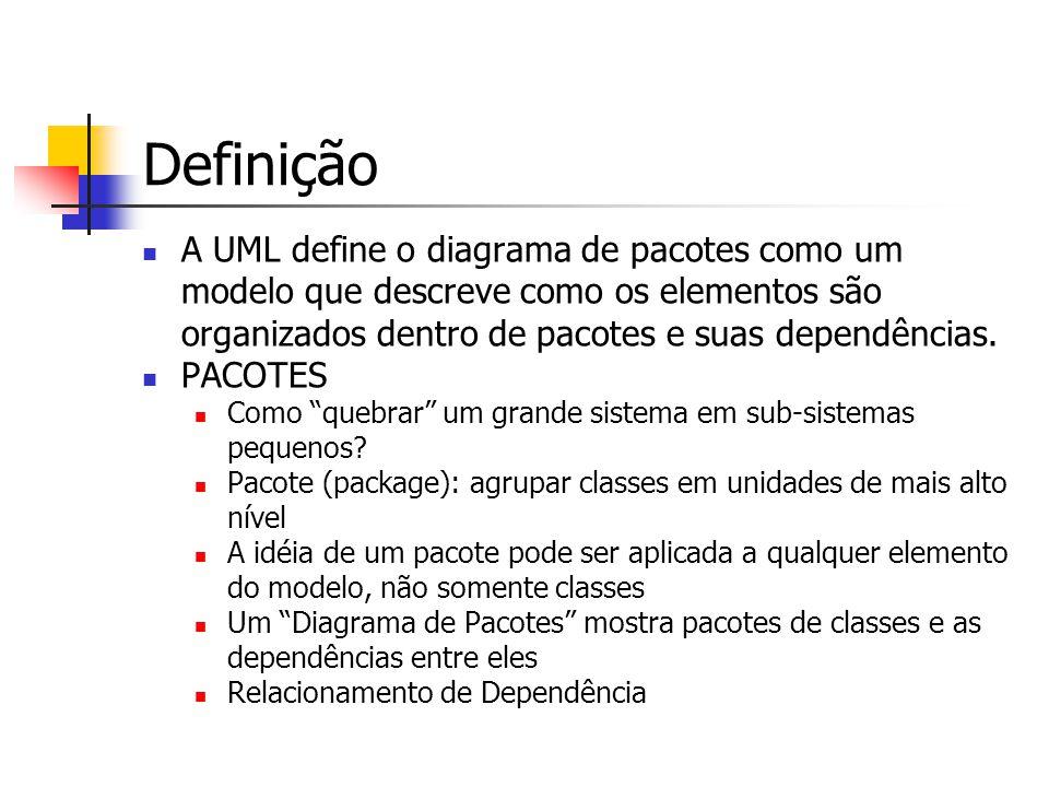 Definição A UML define o diagrama de pacotes como um modelo que descreve como os elementos são organizados dentro de pacotes e suas dependências.