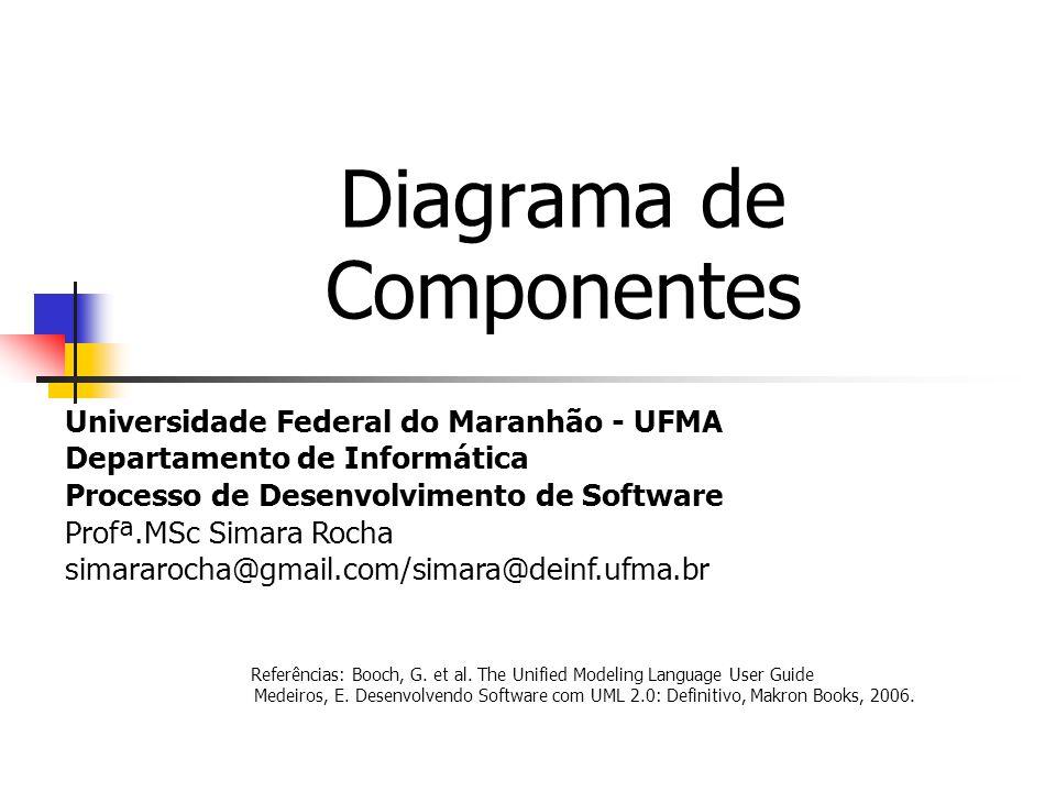 Diagrama de Componentes Universidade Federal do Maranhão - UFMA Departamento de Informática Processo de Desenvolvimento de Software Profª.MSc Simara Rocha simararocha@gmail.com/simara@deinf.ufma.br Referências: Booch, G.