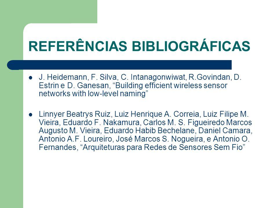 "REFERÊNCIAS BIBLIOGRÁFICAS J. Heidemann, F. Silva, C. Intanagonwiwat, R.Govindan, D. Estrin e D. Ganesan, ""Building efficient wireless sensor networks"