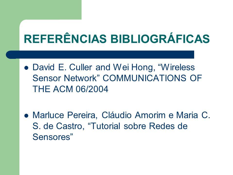 """REFERÊNCIAS BIBLIOGRÁFICAS David E. Culler and Wei Hong, """"Wireless Sensor Network"""" COMMUNICATIONS OF THE ACM 06/2004 Marluce Pereira, Cláudio Amorim e"""