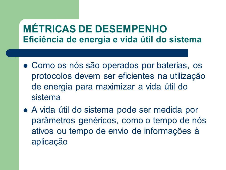 MÉTRICAS DE DESEMPENHO Eficiência de energia e vida útil do sistema Como os nós são operados por baterias, os protocolos devem ser eficientes na utili