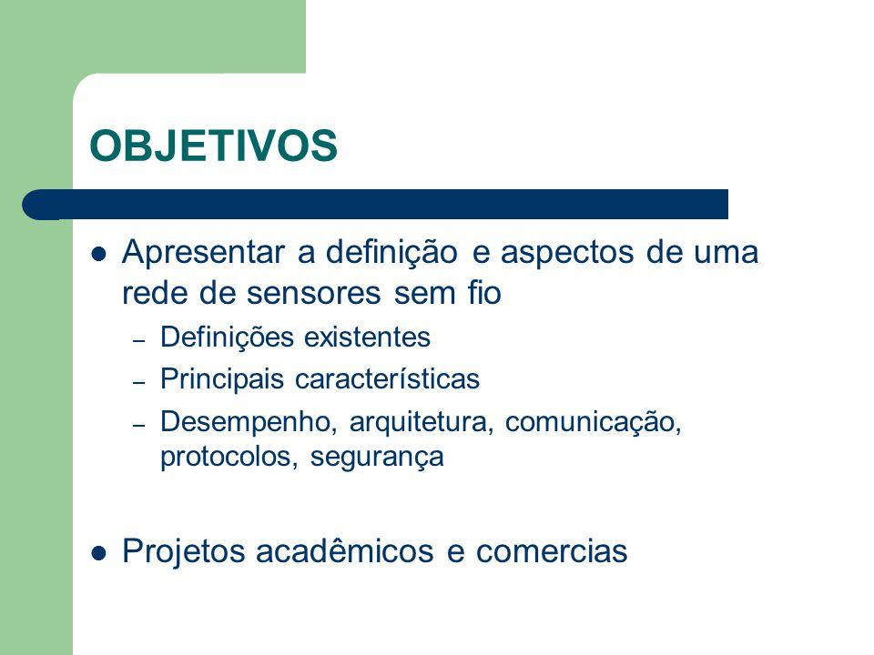 OBJETIVOS Apresentar a definição e aspectos de uma rede de sensores sem fio – Definições existentes – Principais características – Desempenho, arquite
