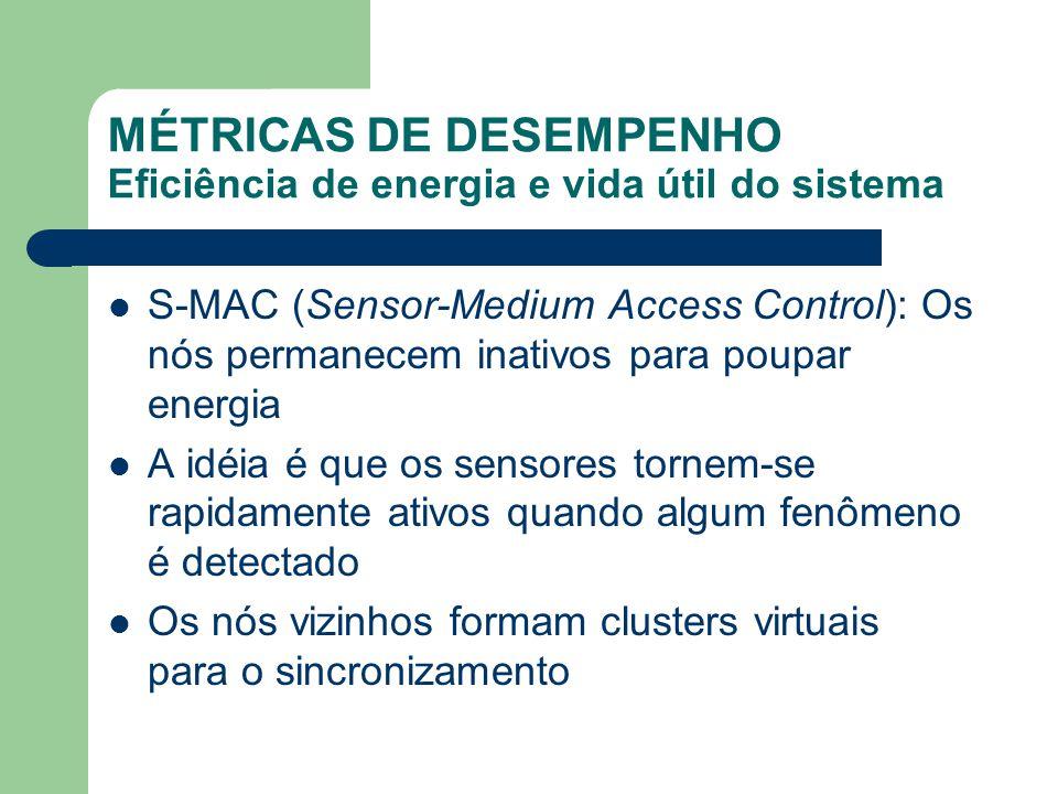 MÉTRICAS DE DESEMPENHO Eficiência de energia e vida útil do sistema S-MAC (Sensor-Medium Access Control): Os nós permanecem inativos para poupar energ