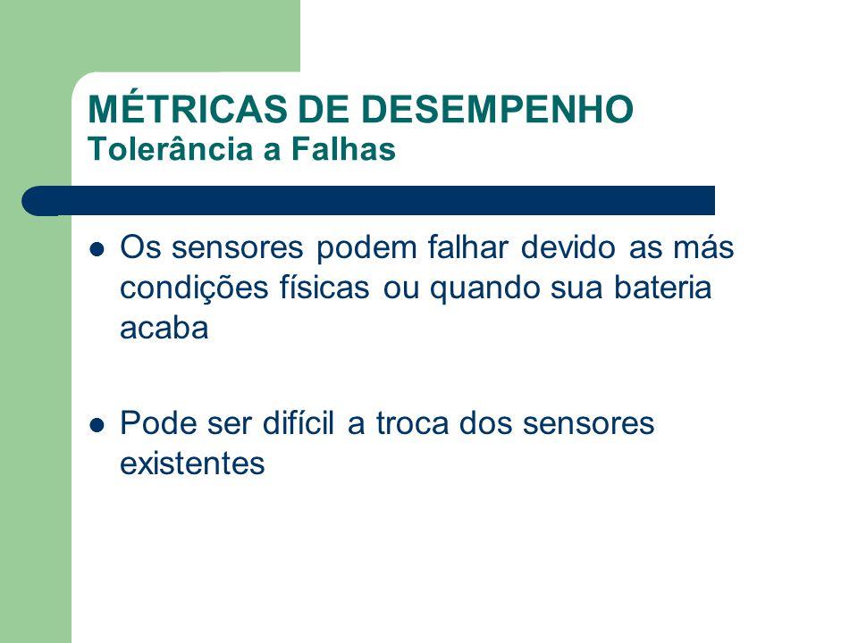 MÉTRICAS DE DESEMPENHO Tolerância a Falhas Os sensores podem falhar devido as más condições físicas ou quando sua bateria acaba Pode ser difícil a tro